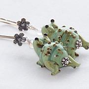 SALE Lampwork Frog Earrings- Artisan Handmade- Bali Sterling Silver Dangle- Jewelry Gift for H