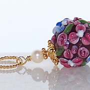 SOLD Mother's Day Gift Pendant Necklace- 24K GV Artisan Floral Lampwork Bead Bali 24K Gold Ver