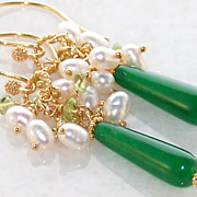 SOLD 24K Bali GV Emerald, Peridot and Pearl Earrings / Artisan Jewelry Gift for Her- May Birth