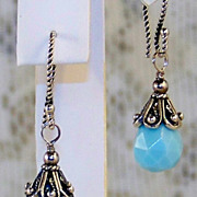 SALE Bali Sterling Silver Opal Quartz Dangle Earrings- Artisan Handmade Gift for Her/ Woman