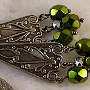 SOLD Vintage/ Victorian Style- Antiqued Silver- Olivine- Chandelier Earrings- Handmade Jewelry