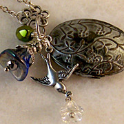 Sterling Silver- Vintage Locket Charm Necklace- Handmade Jewelry gift for Her/ Woman/ Girl