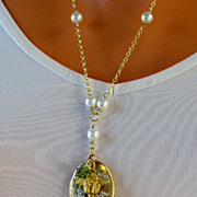REDUCED Valentine's Day Sale! White Patina Brass Locket- Cherub Charm Necklace- 18K GF - Artis