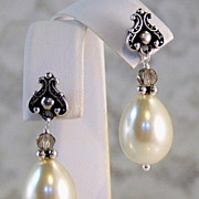SOLD Swarovski Crystal Tear Drop Pearl Earrings- Silver- Handmade Jewelry Gift for Her-Holiday