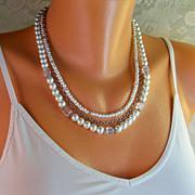 REDUCED 30% OFF! Layered Swarovski Cube, Czech Pearl Necklace- Oxidized Silver- Handmade Jewel