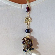 REDUCED French Country Rose Inspired Gemstone Cluster Pendant Necklace- Gold Fill, Garnet, ...