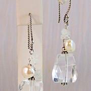 SALE Rock Crystal, Rainbow Moonstone, Cultured Pearl Bali Sterling Silver Earrings- Jewelry ..