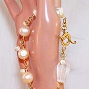 SALE Huge Cultured Pearl-Rock Crystal- 24K GV - Wire Wrapped Bracelet- Artisan Handmade Jewelr