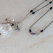 SALE Long Bali Sterling Silver Wrapped -Rock Crystal Gemstone Necklace-Cultured Pearl-Moonston