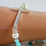 SALE Sale! Peruvian Opal Rhinestone Cross Sterling Silver Cultured Pearl- Rock Crystal- Gemsto