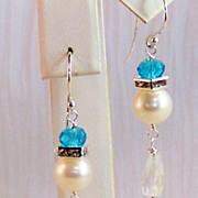 SOLD Sterling Rock Crystal- Cultured Akoya Pearl- Swarovski BT Crystal Earrings- Jewelry Gift-