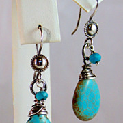 Bali Sterling Silver Wrapped Turquoise Earrings- Western Chic Jewelry- Oxidized 925 Sterling S