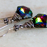 SOLD French Baroque Swarovski Vitrail Crystal Earrings- Bali Sterling Silver Wrapped - Handmad