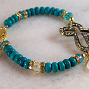 REDUCED Take 50% OFF @ Checkout! Turquoise Cross Bracelet- Moonstone Gemstone- Gold- Religious