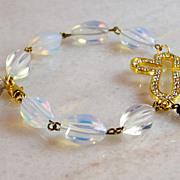 REDUCED Take 50% OFF @ Checkout! Rhinestone Cross Bracelet- Gold- Moonstone Gemstone- Religiou
