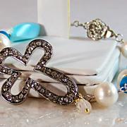 REDUCED Take 50% OFF @ Checkout! Rhinestone Cross- Gemstone Wrapped Bracelet- Gold/Silver- Per