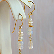 SALE 24K Bali Gold Vermeil Stacked Cultured Keshi Pearl, Moonstone and Faceted Rock Crystal Te