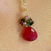 SALE Mother's Day Sale! Hot Pink Chalcedony Multi- Colored Tourmaline Gemstone Cluster Pendant