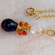 SALE Sapphire Carnelian Rock Crystal Handmade Pendant Necklace- 24K GV/ 18K GF Wire Wrapped Ge