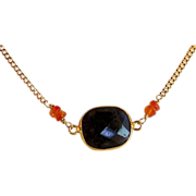 Iolite Carnelian Gemstone Handmade Vermeil Wrapped Gold Filled Necklace- Layering Necklace-Jew
