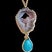 SALE Druzy Drusy Agate Turquoise Gemstone Pendant Necklace- Gold- Layering- Handmade Boho ...