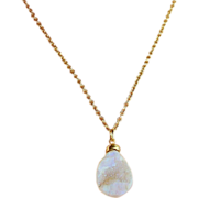 SALE White Druzy Drusy Gemstone Pendant Necklace- 24K GV Wrapped- Wedding- Layering Necklace-