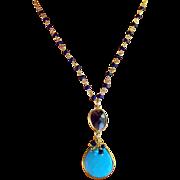 SALE Sale! Blue Turquoise, Lapis Lazuli, Iolite Gemstone Pendant Necklace- 24K GV 14K GF- Wire