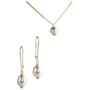 SET- South Sea Shell Drop Pearl Earrings & Necklace Set- (16mmx 12mm)- Artisan Handmade Bali 2