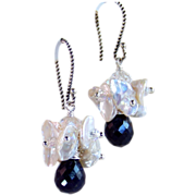 SALE Sapphire & Keshi Pearl Cluster Drop Earrings- Sterling Wire Wrapped- Wedding- Artisan Han