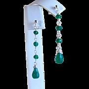 SALE Emerald Green Onyx Gemstone Briolette wire Wrapped Dangle/ Drop Earrings- Sterling Silver