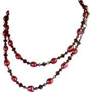 Long Knotted Necklace -Cultured Baroque Pearls- Burgundy Swarovski Crystals- Necklace & Earrin