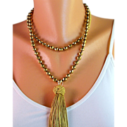 SALE X-Long Knotted Gold Hematite Tassel Necklace- Faceted Gold Hematite Gemstones- Handmade J