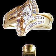 Diamond Ring Engagement Wedding Ring Set- 14k Gold- 1.11ctw- Size 7