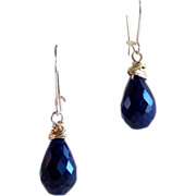 SALE Natural Sapphire Briolette Drop Earrings- 14K Gold Filled- Handmade Jewelry Gift for Her-