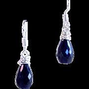 SALE Sapphire Gemstone Briolette Drop Earrings- Sterling Silver- Handmade Jewelry Gift for Her