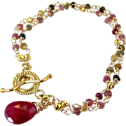 SOLD Ruby Tourmaline 2 Strand Gemstone Bracelet- Bali Gold Vermeil- Artisan Handmade Wrapped J