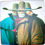 SALE The Trio by James Darum- Original Trio Oil Painting- 4FT x 4FT Canvas- Southwest Western
