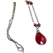 SALE Valentines Day Sale! Ruby & Garnet Gemstone Pendant Necklace- 925 Sterling Silver- Artisa