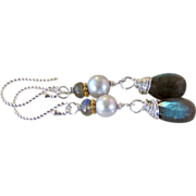 SALE Flash Labradorite- Cultured Gray Potato Pearl Gemstone Earrings- 925 Sterling Silver- Han