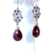 SOLD Red Ruby Gemstone Earrings- Opaque Faceted Ruby- Victorian Vintage Style Antiqued Silver