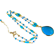SALE Mother's Day Sale! Blue Turquoise- Blue Topaz Quartz- Gold Pyrite Gemstone Pendant Neckla