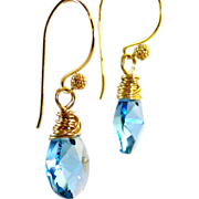 SALE Aquamarine Swarovski Crystal Tear Drop Earrings- Gold Wire Wrapped Dangle- Artisan ...