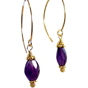 SALE Sale! 24k GV Bali -Purple Amethyst Gemstone Earrings- Gold Vermeil- Artisan Handmade Jewe