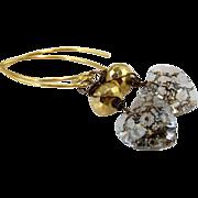 SOLD Fun Swarovski Patina Heart Crystal - Gold Pyrite Gemstone Dangle Earrings- 24k Gold Verme