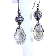 French Country Inspired Shabby Chic- Swarovski Patina Crystal Barrel Earrings- Sterling Silver