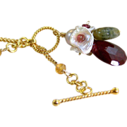 SALE Mother's Day Sale! 50% OFF- Natural Red Ruby- Tourmaline- Citrine- Keshi Pearl Floral ...