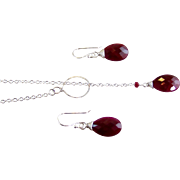 SALE Valentine's Day Sale! 50% OFF!  Ruby Gemstone Lariat Necklace & Earrings, Handmade Je