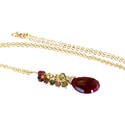 SALE Natural Ruby Gemstone Cluster Pendant Necklace- Red Ruby, Tourmaline, Garnet, Pyrite- Wir