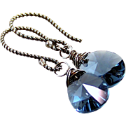 SOLD Montana Blue Swarovski Crystal Tear Drop Earrings- Antiqued Sterling Wire Wrapped Dangle-