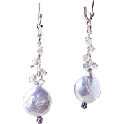 SALE 30% OFF Sale! Silvery Coin Pearl Blue Flash Labradorite Sterling Silver Cluster Dangle Ea